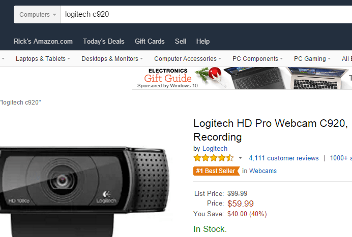 The Best Webcam for Twitch TV Streamers is the Logitech c920